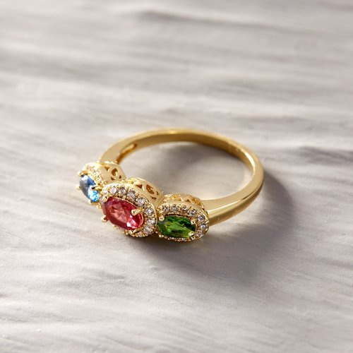 Best Friends Forever. Classic ring with colorful crystals