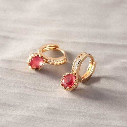 Tiffany raspberry. Malinowe kolczyki na małym kółeczku